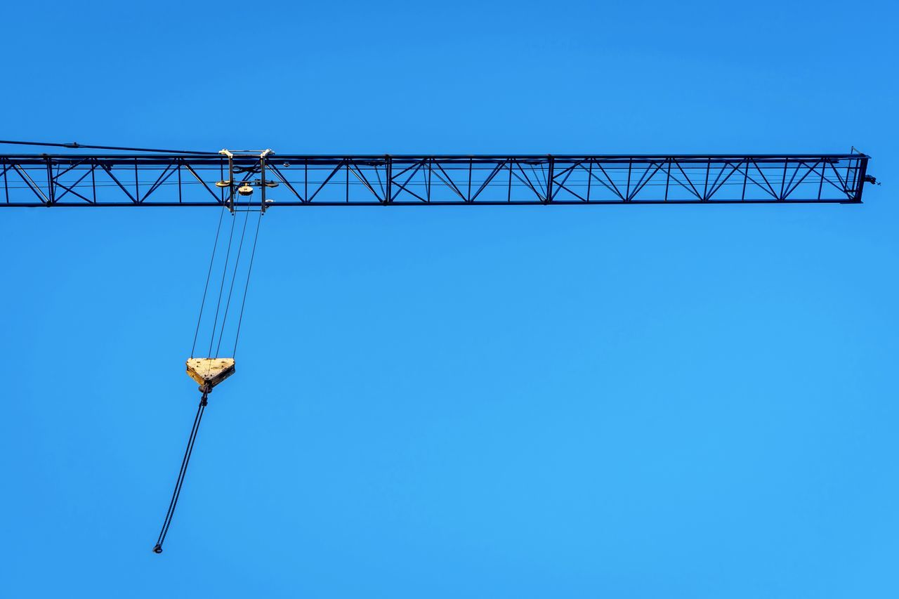 Blue Blue Sky Clear Sky Construction Construction Crane Crane Crane - Construction Machinery Cranes Day Low Angle View No People Outdoors Sky The EyeEm Collection Selected for Premium Collection Art Is Everywhere