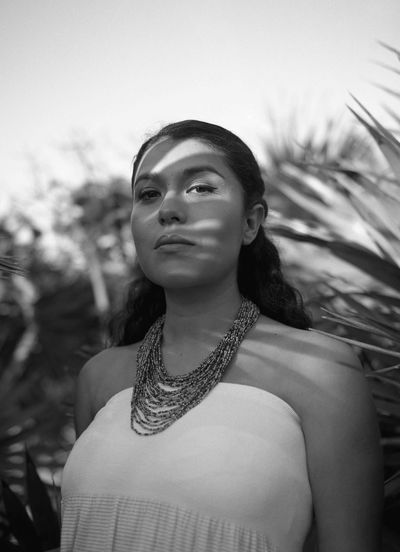 Wifey 🇲🇽🇲🇽 Real People Blackandwhite One Person Young Adult Waist Up Young Women Beautiful Woman Necklace Front View Leisure Activity Lifestyles Focus On Foreground Fashion Standing Outdoors Portrait Day Close-up The Portraitist - 2017 EyeEm Awards Mamiya RB67 Live For The Story Black And White Friday