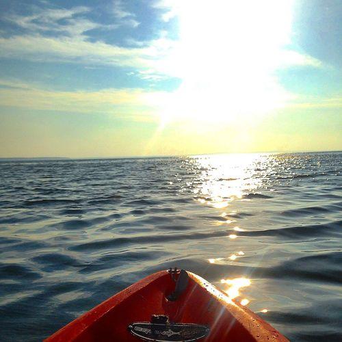Kayak Kayaking Sunset Sun Clouds Landscape Scenic Lake Paradise Natural