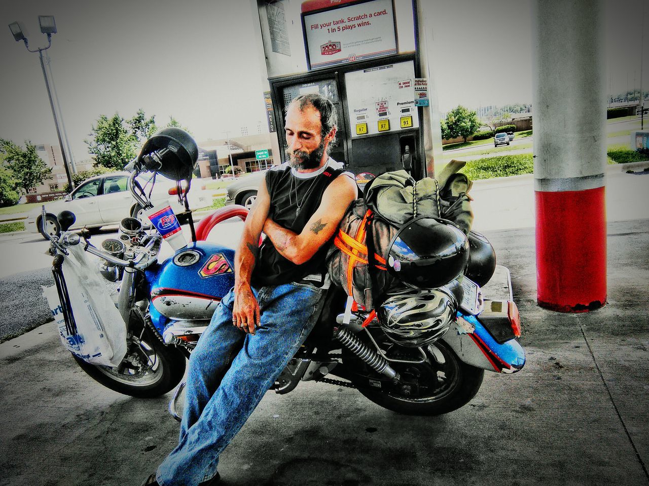 Different Perspective Motorcycles Man On Bike Street Photography Gas Station Guy Showcase July Summer Views Popular Portrait Simplicity Relaxing Eyeem Collection Fine Art Tadaa Community EyeEm Summer Shots Transportation Road Side
