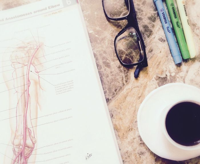 Table Medicine Studying Close-up No People EyeEmNewHere IPhone Highlighters Pens Glasses Anatomy Coffee Orthopaedic Cup Mine Edit