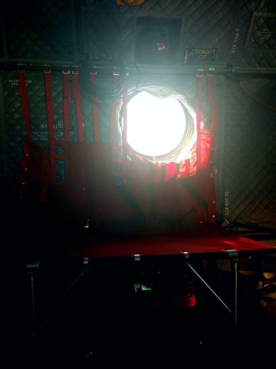 Helicopter Porthole Interior Seats Red Silver - Metal