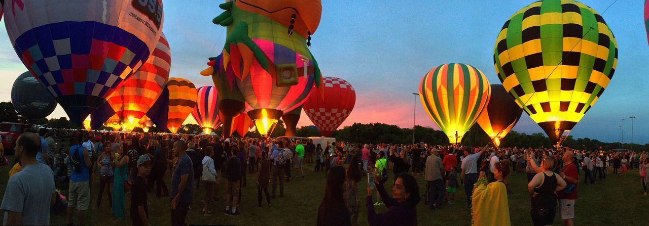 Hot Air Balloons Romantic Lisle Illinois Eyes To The Sky Glow Sunset People