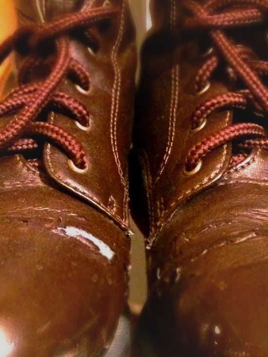 Showcase: January Iphoneonly Worn In Tearing Brown Shoes Boots Fake Leather Shoes Wear And Tear Lace Up Ready To Retire
