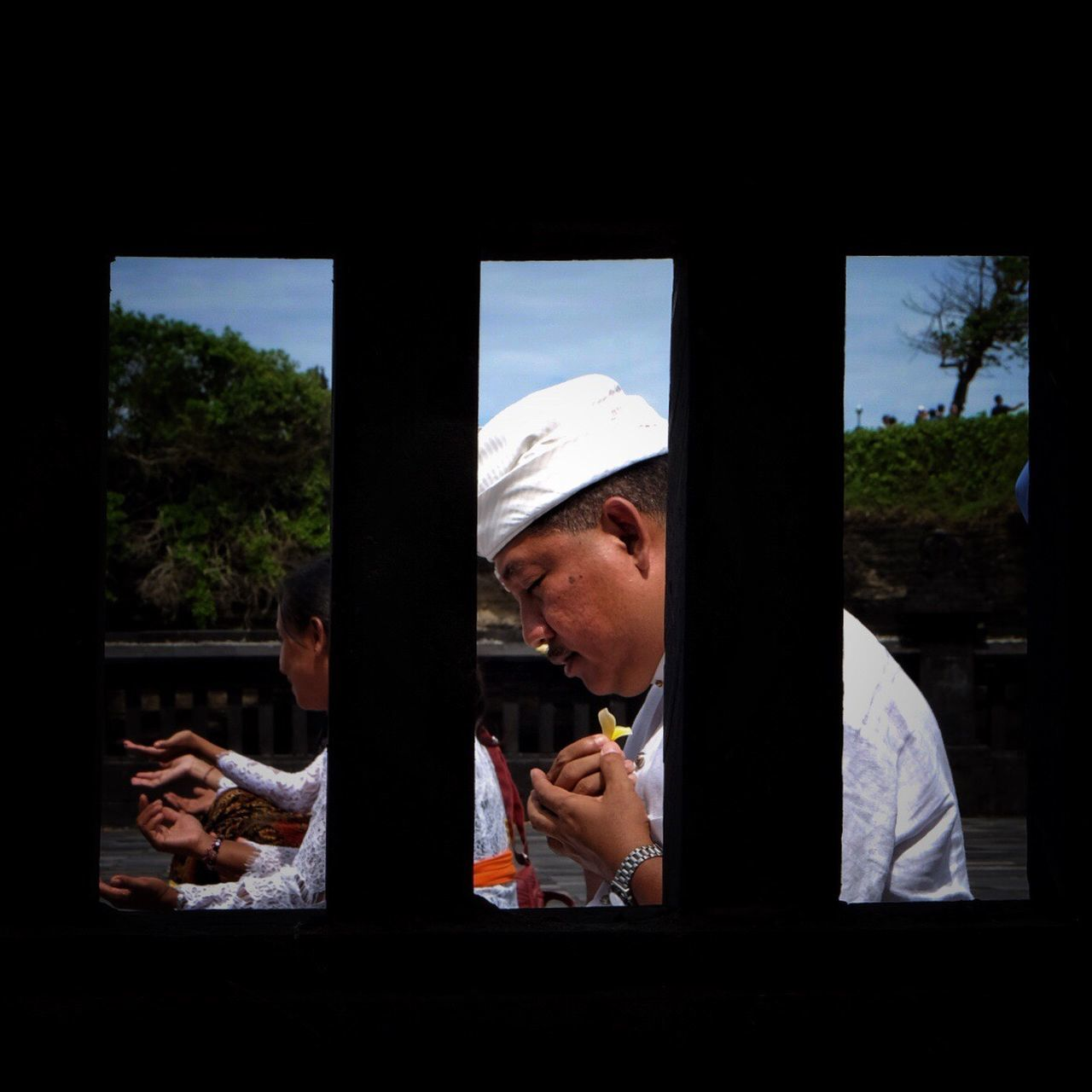 Bali INDONESIA Tanah Lot Men Culture Religion Praying Window One Person Day Adult Capture The Moment Traditional Clothing Travel Photography Temple Streetphotography Snap a Stranger