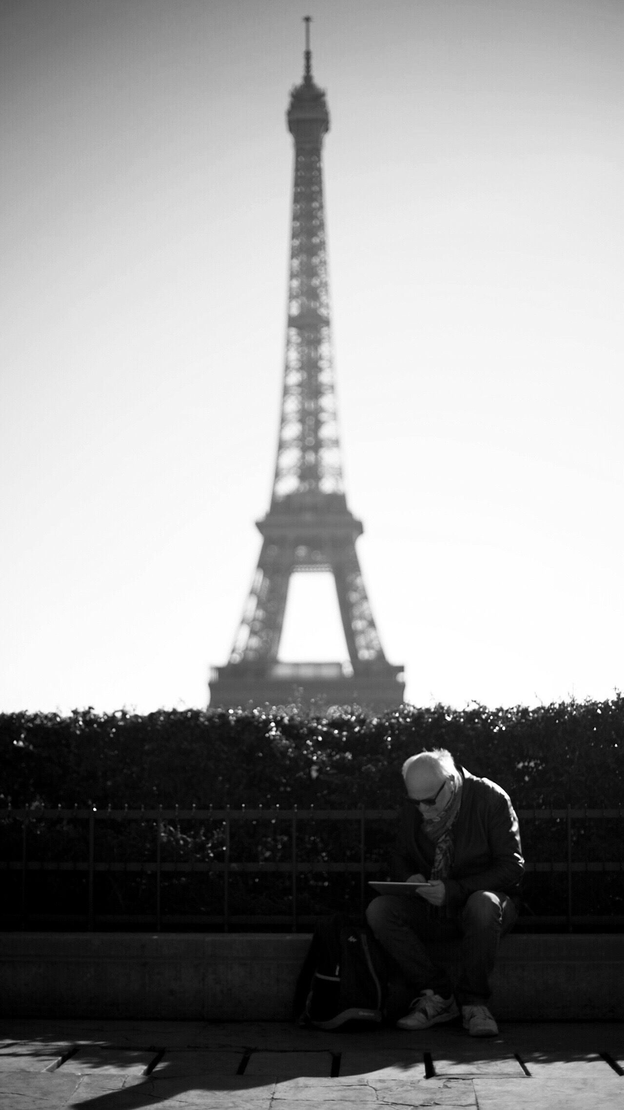 Aged Paris France Eiffel Tower Sun Man Sky Architecture Natural Life