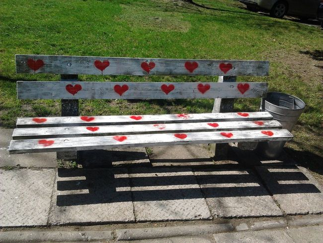 Love Love ♥ Lovely Lovers Bench Heart Hearts Grass Romantic Romantic Beach Shadow School ParkSchool Bench