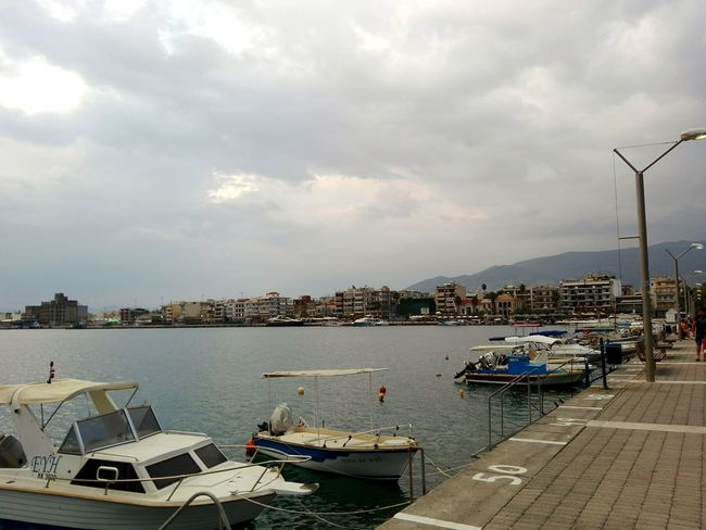 ⚓City Cloud Day Cloudy Cloud - Sky Outdoors Near The Sea Greece Messinia Kalamata Walkway Boat Water Sky Architecture City View  Buildings Port
