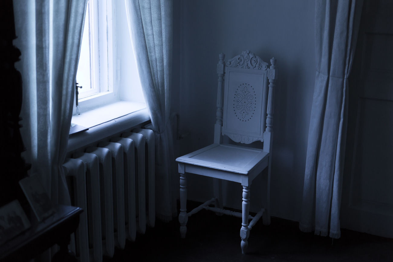 Old white furniture in the all white room Calm Chair Color Curtain History Home House Old Peace Plain Room Shadow White White Furniture