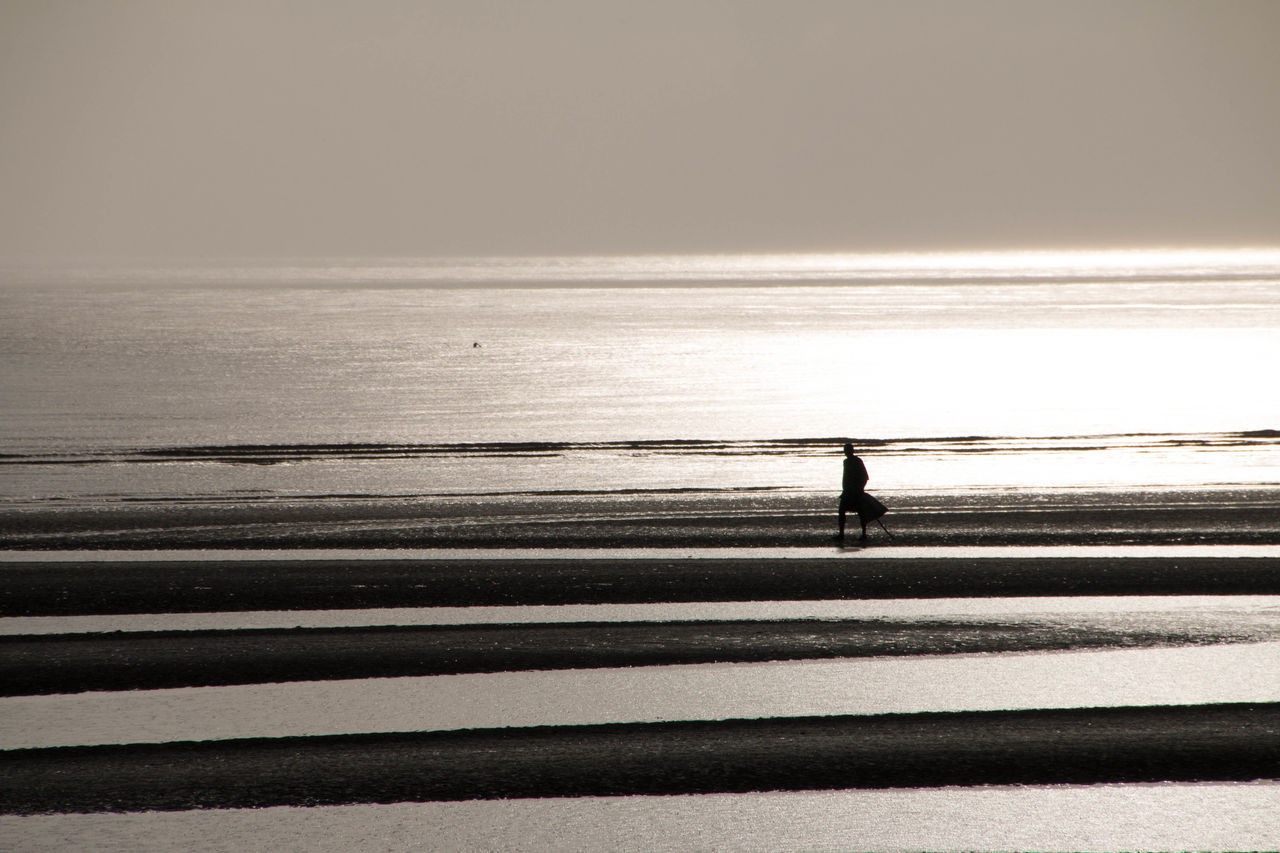 Silhouette of a lone fisherman walking in the beach Adult Adults Only Beach Day Horizon Over Water Lone Fisherman Nature One Man Only One Person Only Men Outdoors People Real People Sea Silhouette Silhouette Silhouette Photography Silhoutte Photography Sky Sunrise Sunset Water