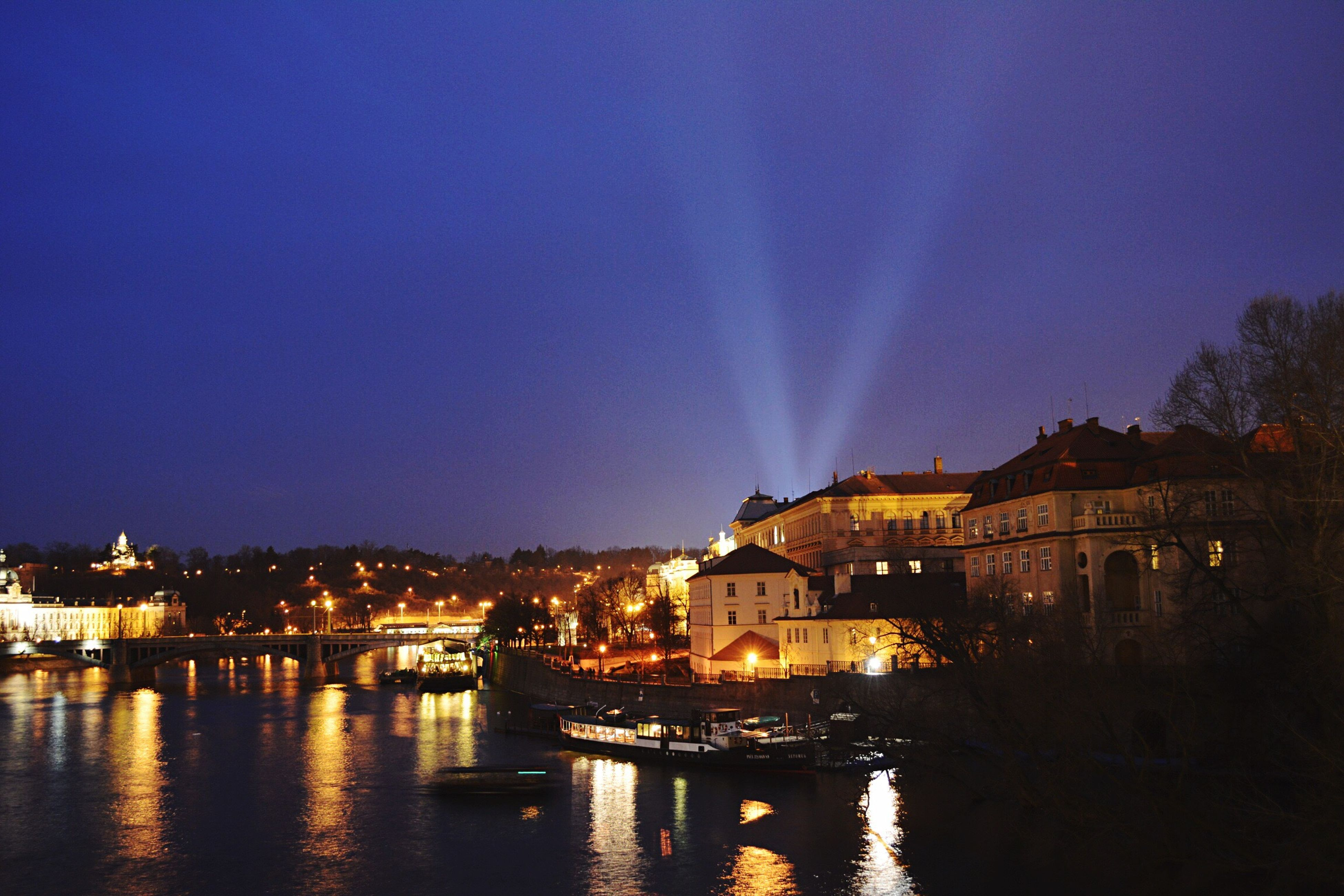Prague Praga Charles Bridge River Night Lights Wonderful Landscape Ponte Carlo Fiume Luci