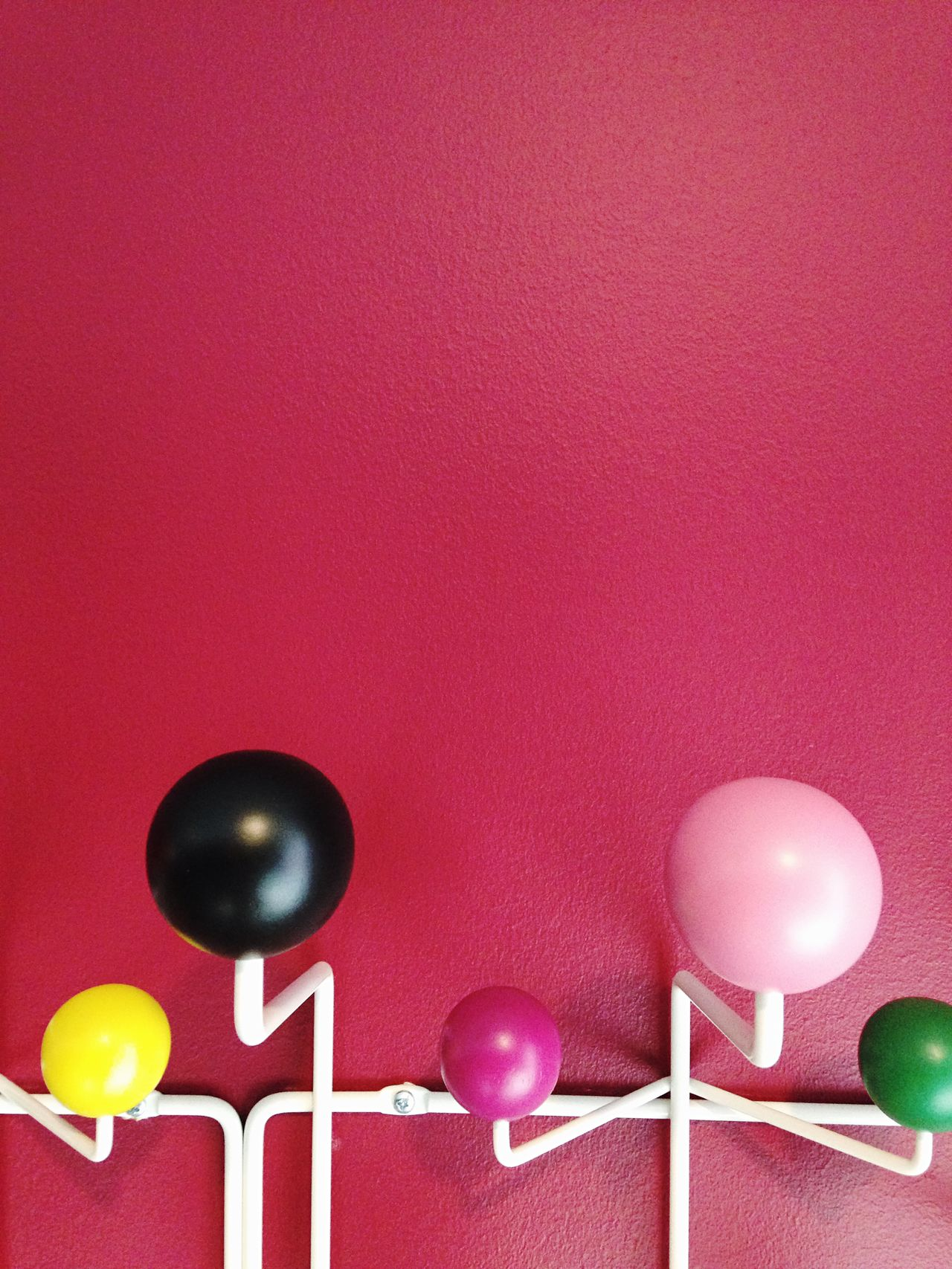 Dark Pink By Motorola Pink Wall ♡♥♡ Colorful Wooden Balls Metal Hook White Metal IPhoneography