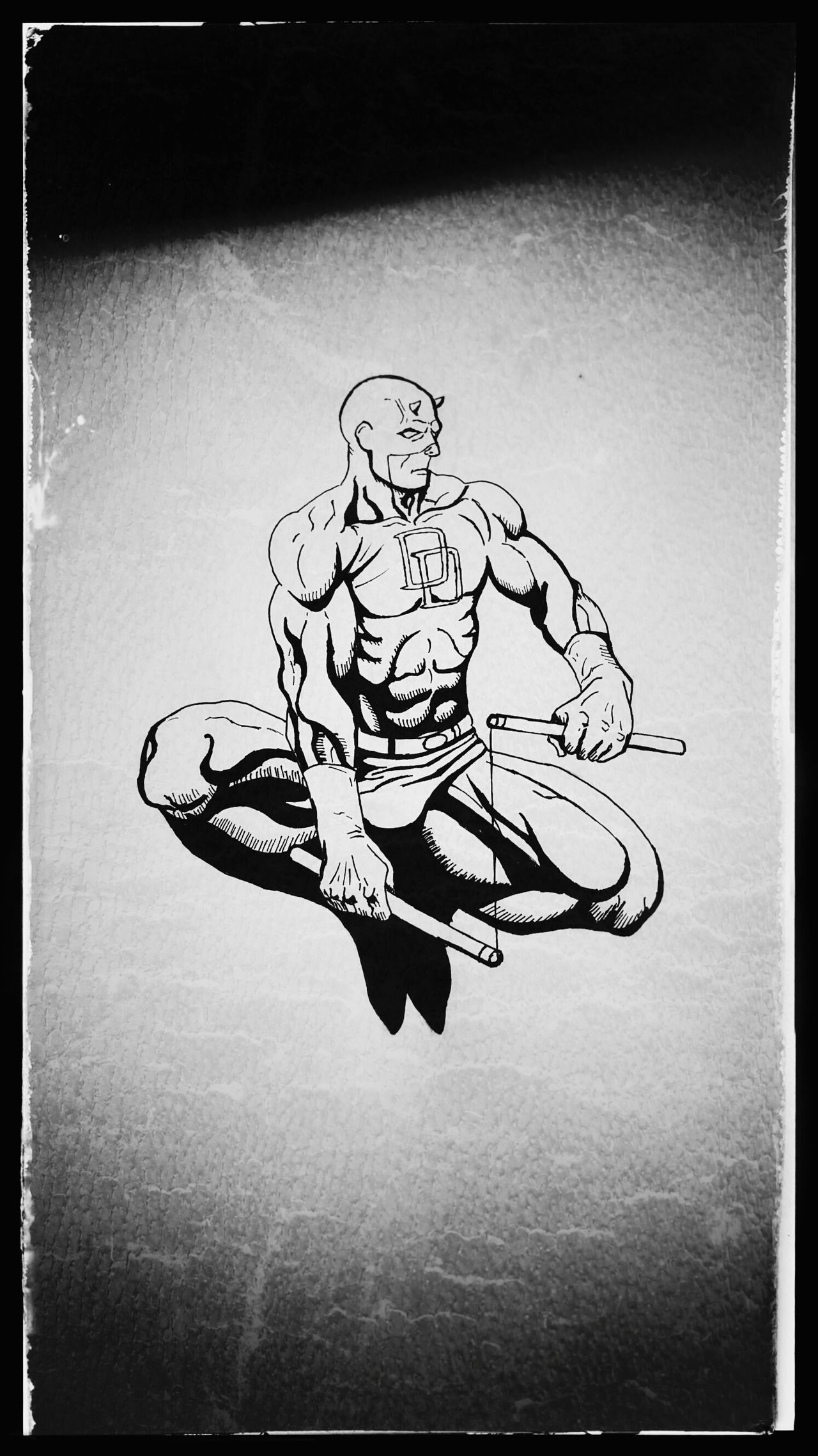 A sketch of Daredevil. Drawing - Art Product Sketch ArtWork Art Sketchbook Drawing Daredevil Netflix Marvel Marvel Comics Blackandwhite Nocolorneeded No People Indoors
