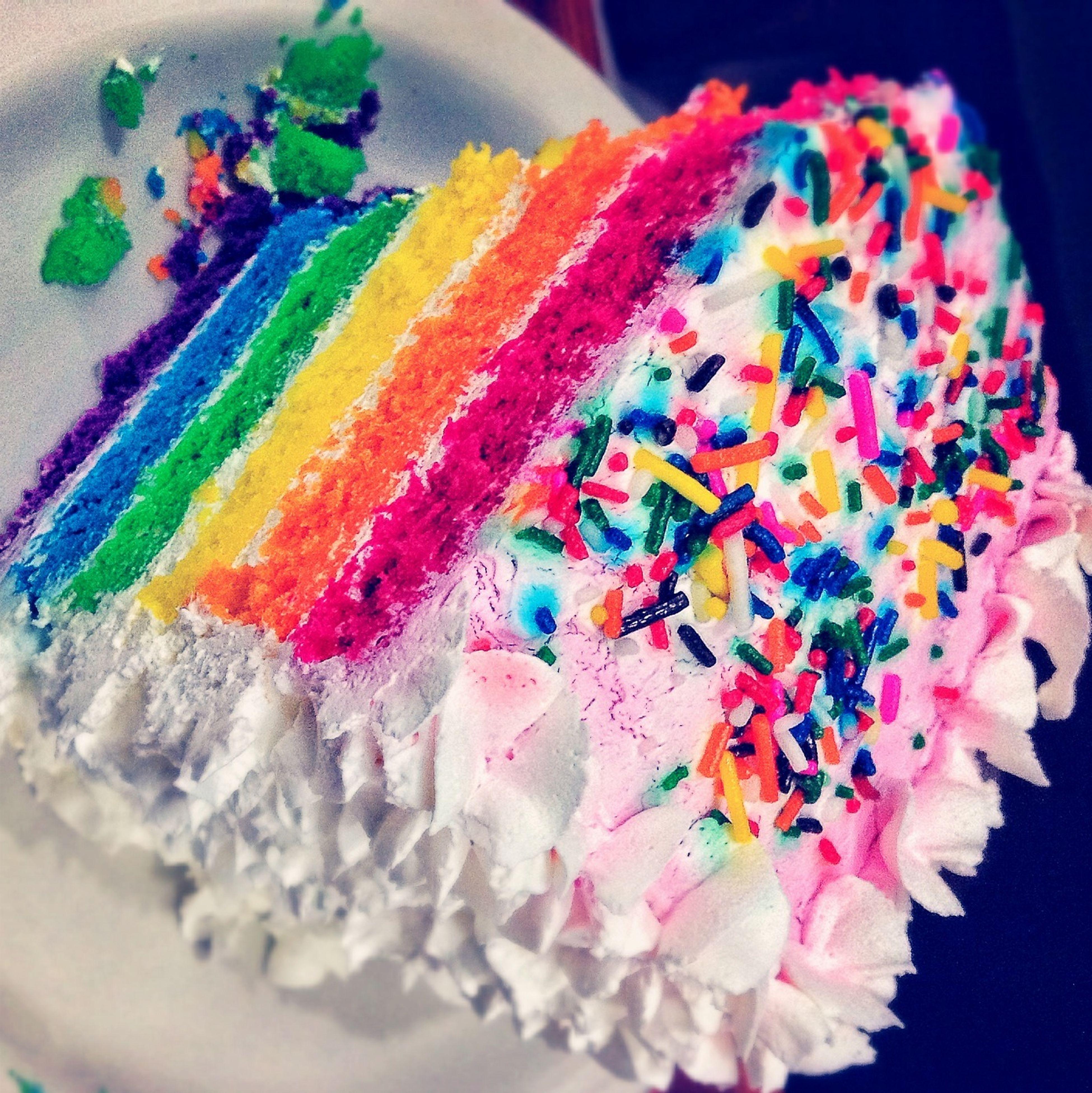 Enjoying Life with a slice of Rainbow Cake - Food Foodporn