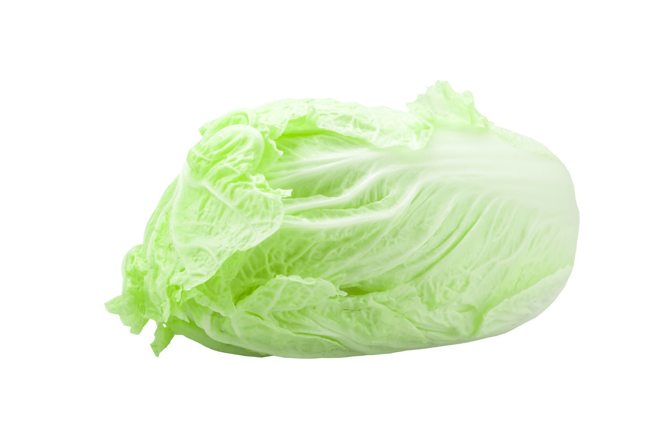 chinese cabbage on white background Chinese Cabbage Close Up Close-up Green Color Napa Cabbage Nappa Cabbage Nature Object Product Studio Shot Vegetable White Background