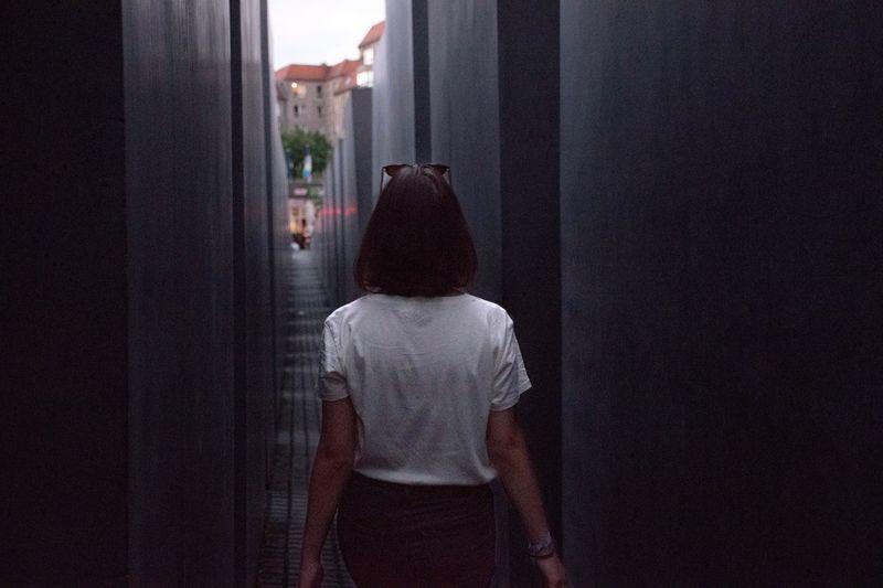 One Person Women Berlin Walk Walking Memorial For Murdered Jews Of Europe Girl Back Urban Landscape Geometric Shape Urban Geometry