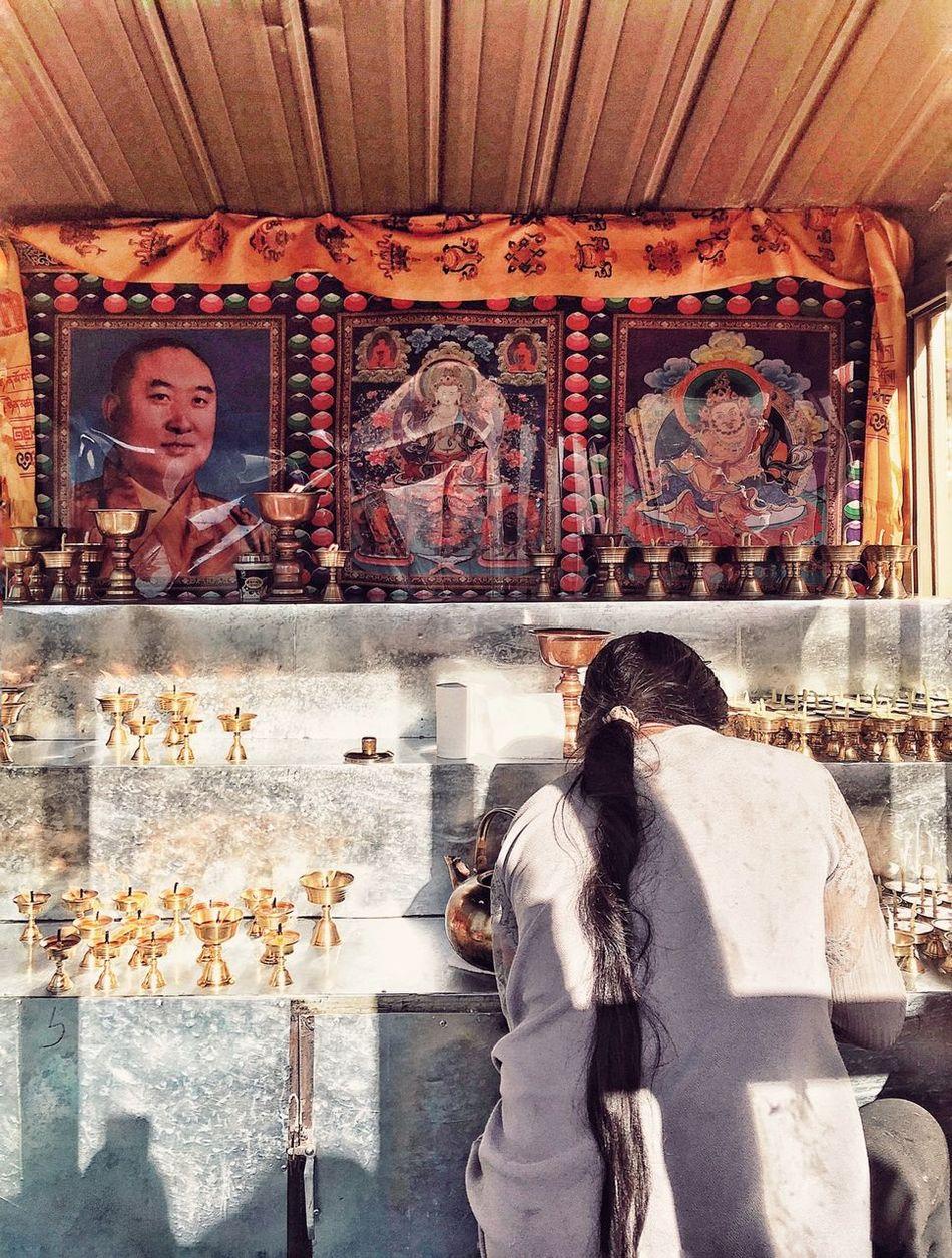 Praying Religon Sunlight West Woman