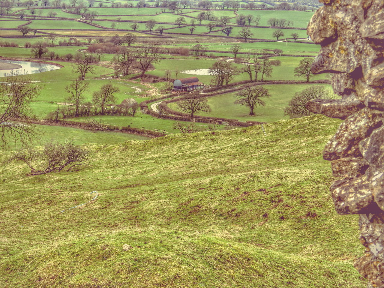 Wales Green Patchwork Rock Farm Barn Valley Rural Bucolic