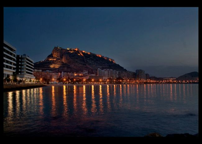 Alicante, Spain Castillo De Santa Bárbara City Famous Place Night Night Lights Night Photography Night View Reflection Sea Waterfront