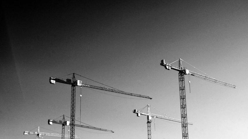 Black & White Black And White Blackandwhite Blackandwhite Photography Construction Site Crane Crane - Construction Machinery Development Low Angle View Monochrome Street Photography Streetphoto_bw Streetphotography
