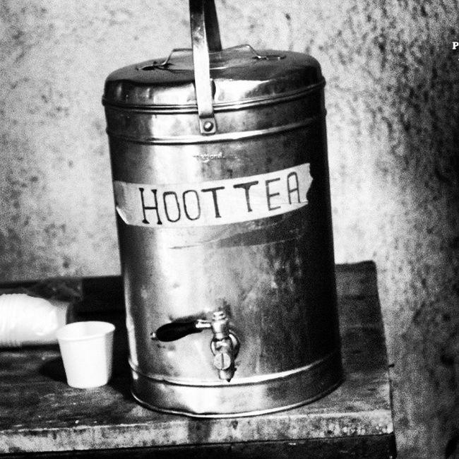 Hoot tea, anyone. Monochrome B &w India Puddingcamera Tea Hottea Tea Container Teacontainer Steel STAINLESSSTEEL Chai Indianchai Spelling Spellingerrors