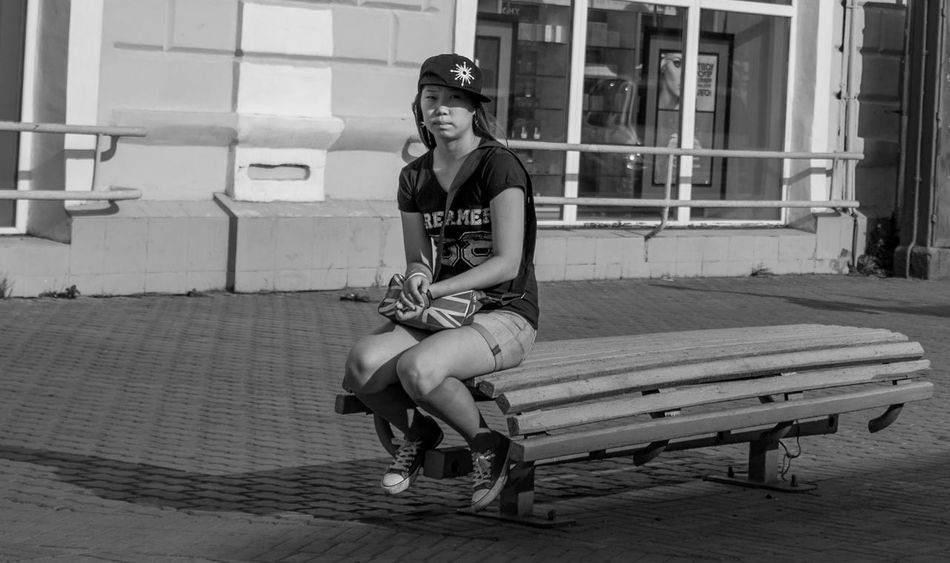 THE BENCH Ulan-Ude Streetphotography Street Photography Streetphoto_bw Streetphotography_bw Portrait Of A Girl Eyem Best Shots - Black + White Black And White Bw_lover People