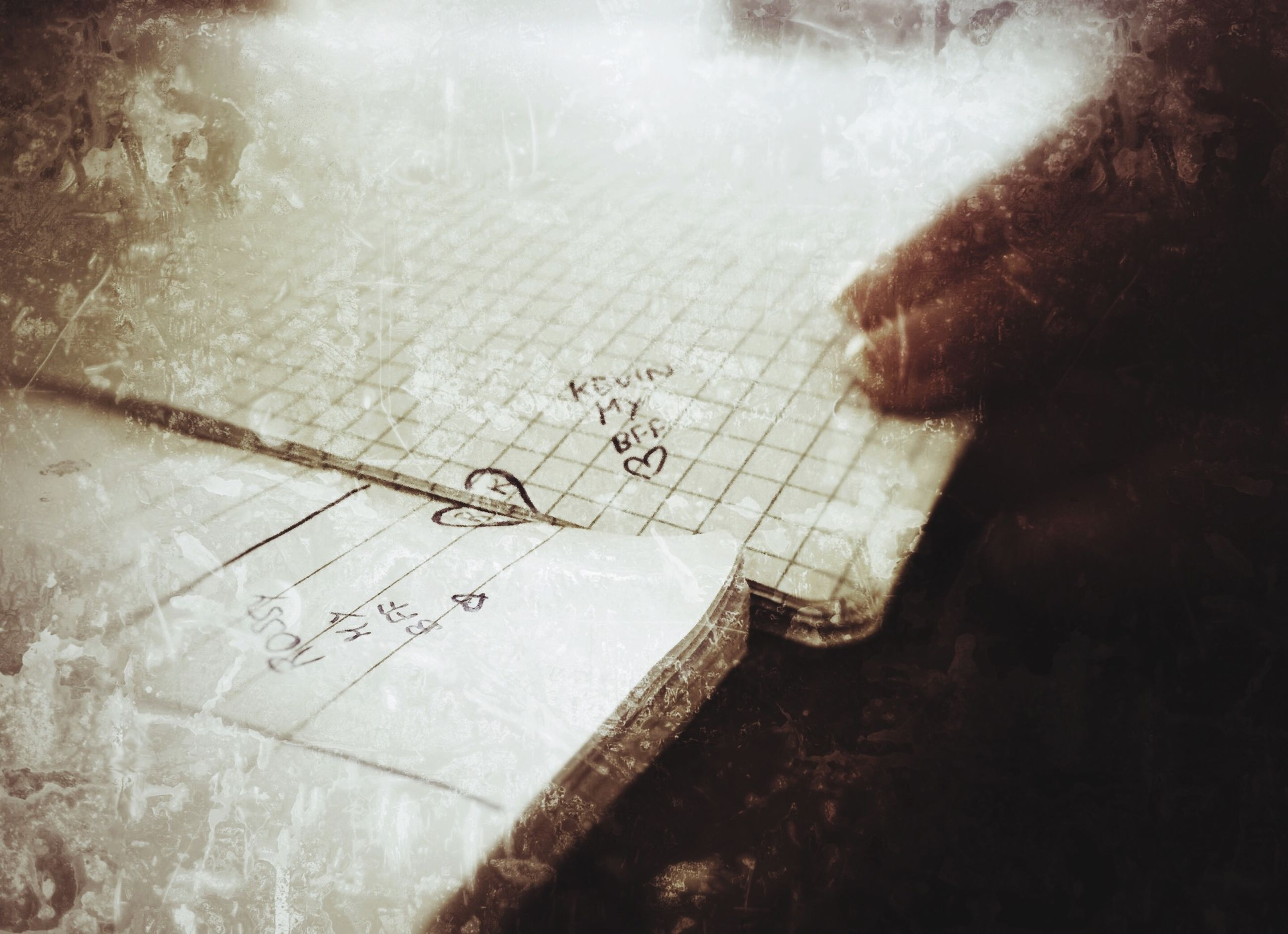 text, western script, indoors, communication, high angle view, art, close-up, wall - building feature, paper, creativity, graffiti, auto post production filter, art and craft, message, handwriting, ideas, wall, drawing - art product