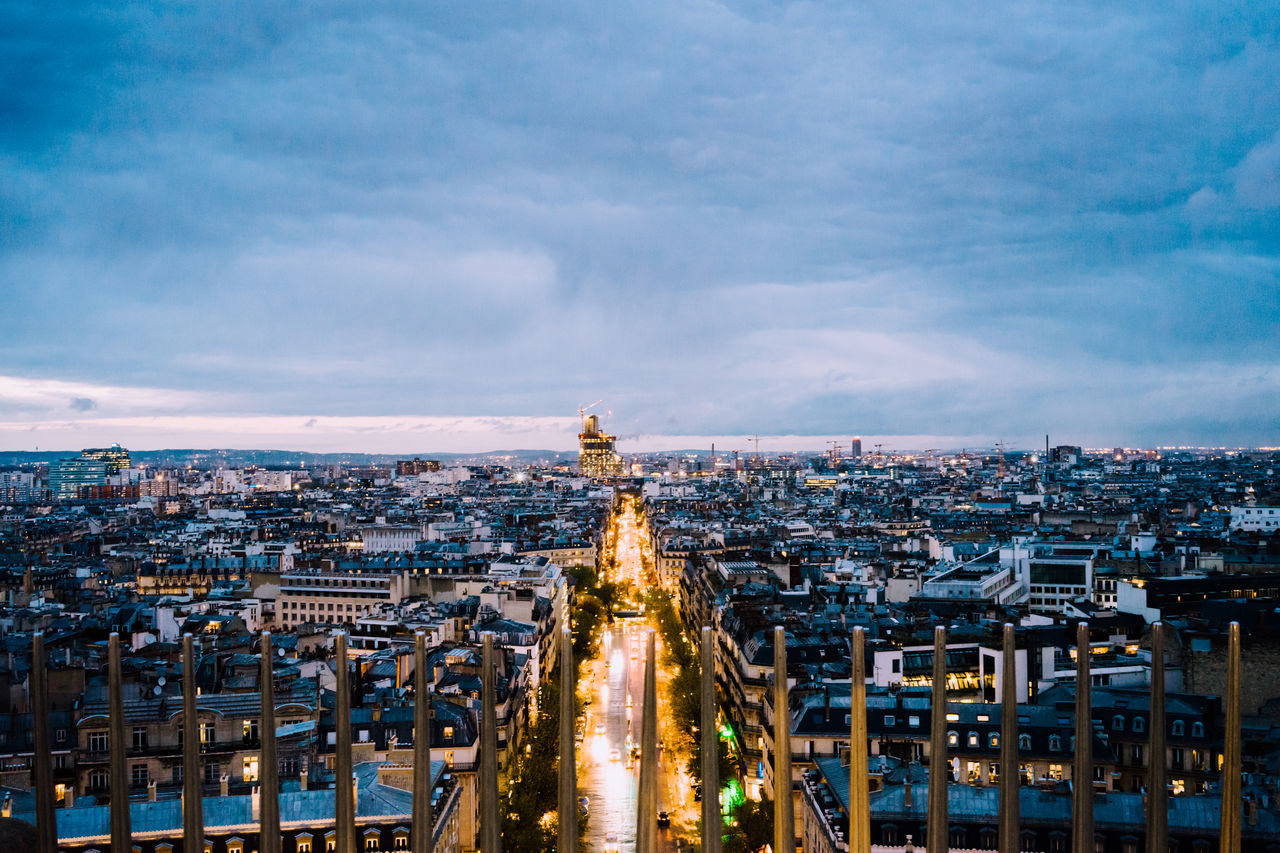 Architecture Blue Sky And Orange Lights Built Structure Capital Cities  City Cityscape From Triumphal Arch Horizon Over Land Modern Night Lights Night View Paris The View From High Tourism Triumphal Arch