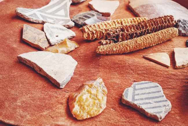 Artifacts Food Food And Drink High Angle View No People Healthy Eating Indoors  Close-up Day Native American Indian Native Archeology Shard Shards Ancient Corn Cob Still Life Anasazi Pottery Pottery Art Pottery Pieces Summer Roadtrip Bowl Earth Tones Artifact