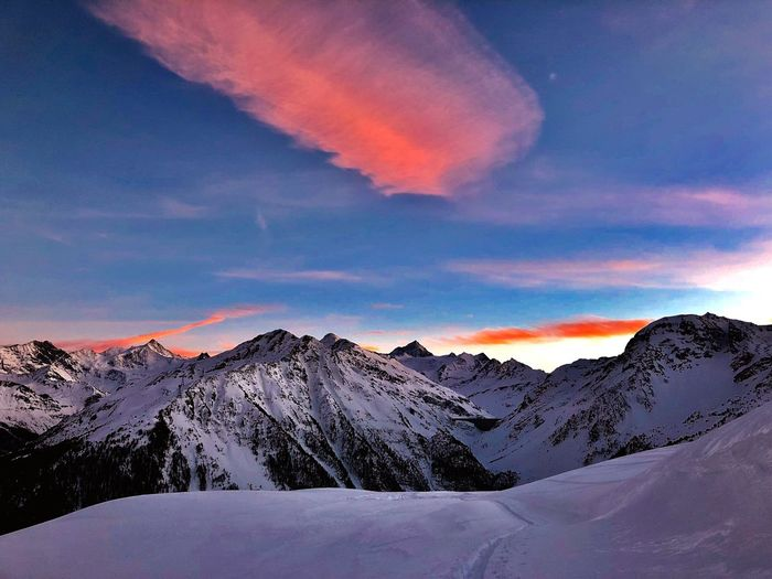 Sunset Swiss Alps Valais Valdanniviers Grimentz Zinal Mountain Snow Beauty In Nature Tranquil Scene Winter