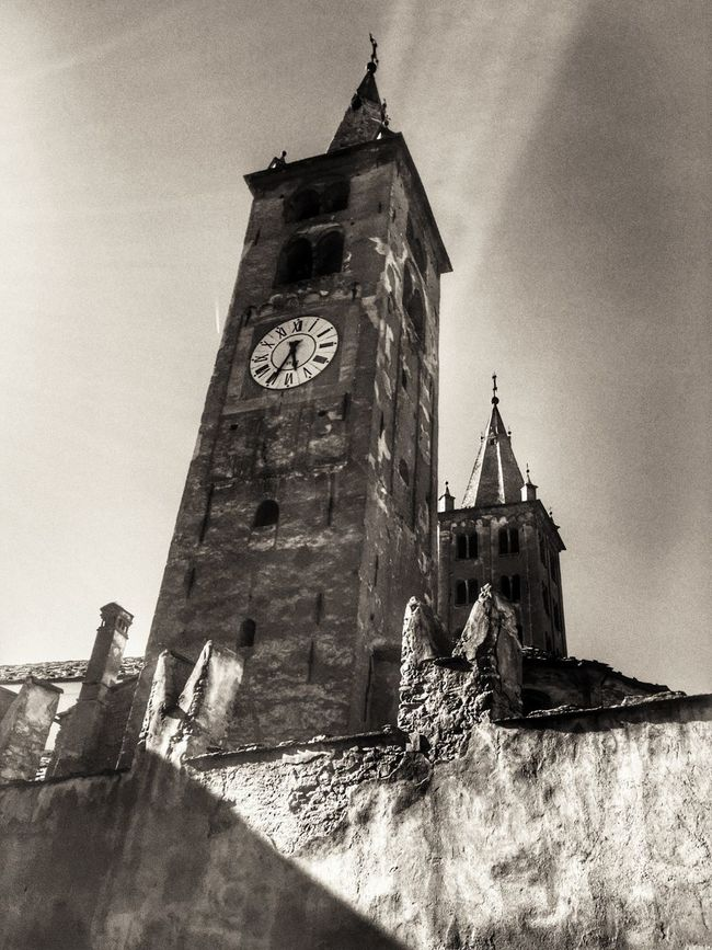 Aosta Aosta Valley Cathedral Architecture Built Structure Clock Tower Low Angle View Building Exterior Tower Tall - High History No People Old Town Past Blackandwhite Photography Black And White Worship Italy Italia Monochrome Photography