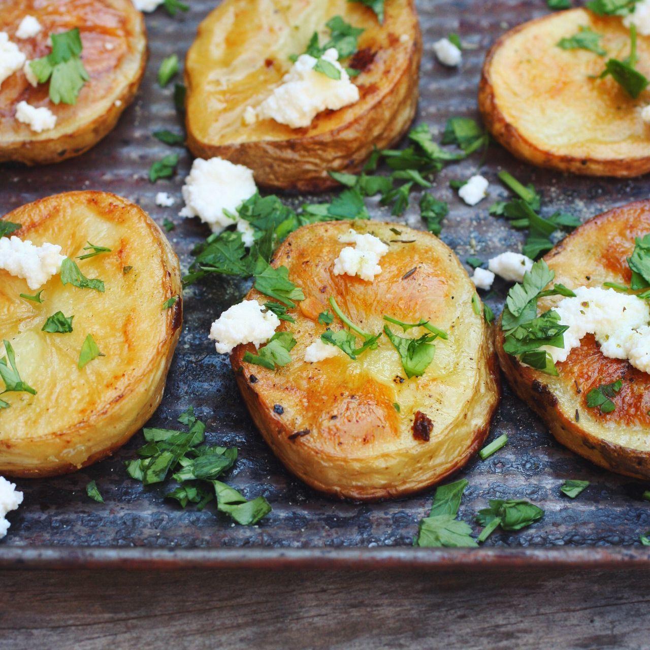 Roasted Potatoes Parsley Thyme Oliveoil Feta Cheese