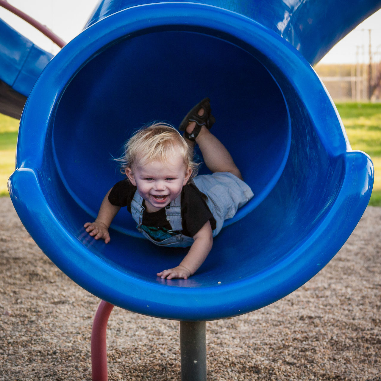 Here I Am Blue Boys Casual Clothing Childhood Cute Day Elementary Age Enjoyment EyeEm Best Shots Full Length Fun Happiness Joy Leisure Activity Live For The Story Memories Outdoor Play Equipment Outdoors Park - Man Made Space Playground Playing Slide Slide - Play Equipment Smiling Summer