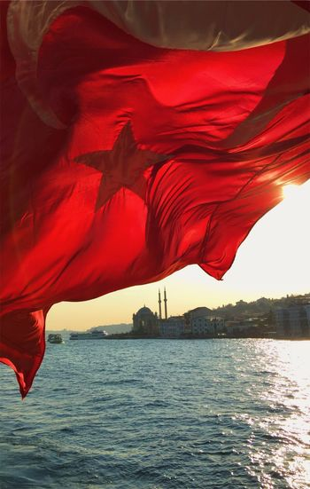 Istanbul Turkey Bosporus Boğaz Ortaköy Camii Mosque Türk Bayrağı Turkish Flag Red Flag Outdoors No People Day Water Nature Sunset Sky Beauty In Nature EyeEmNewHere