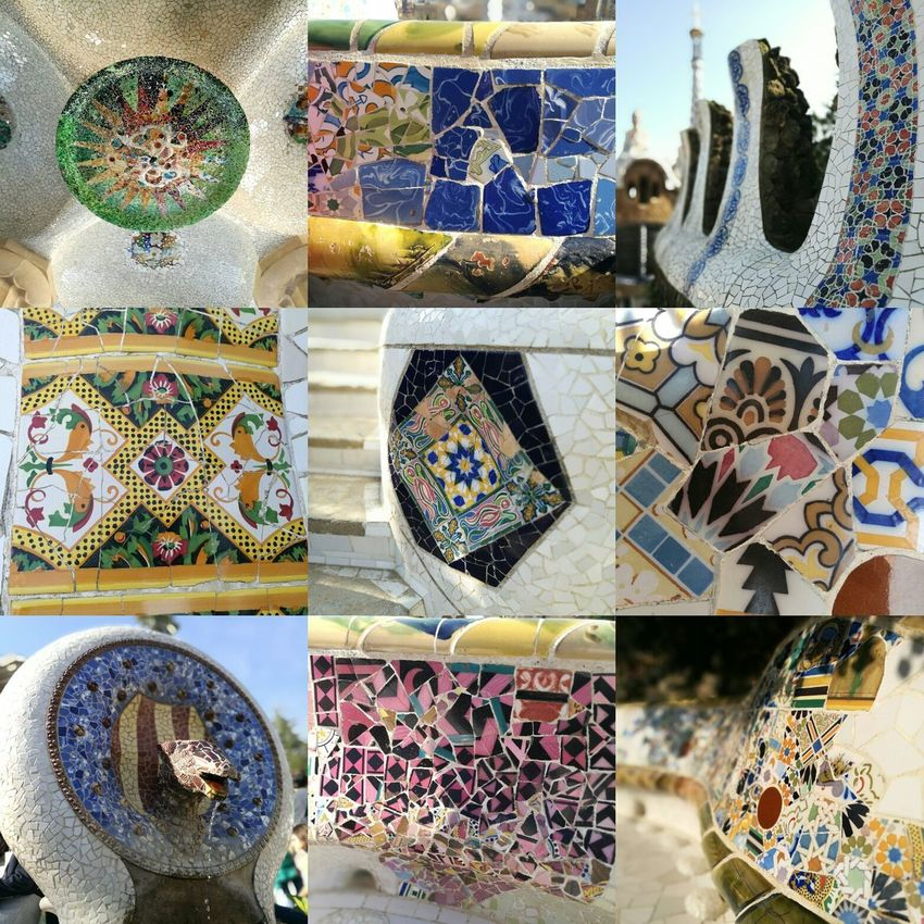 Variation Large Group Of Objects EyeEmNewHere Mosaic Art Park Gaudi Guell Park Guell Monumental Zone HuaweiP9 Barcelona Travel Destinations Building Exterior Built Structure City Sculpture Architecture Textured  Multi Colored