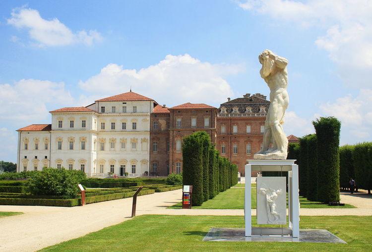 Architecture Cloud Day Formal Garden Garden Grass Green Lawn Outdoors Palace Sculpture Sky Statue Venaria Reale