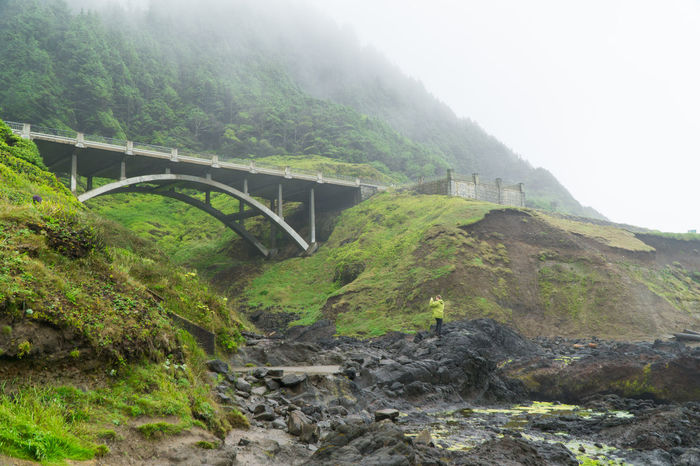 Cooks Chasm Bridge at Cape Perpetua, central Oregon coast Architecture Bridge - Man Made Structure Built Structure Cape Perpetua Connection Cooks Chasim Cooks Chasm Bridge Day Fog Footbridge Mountain Nature No People Oregon Oregon Coast Outdoors Transportation Water