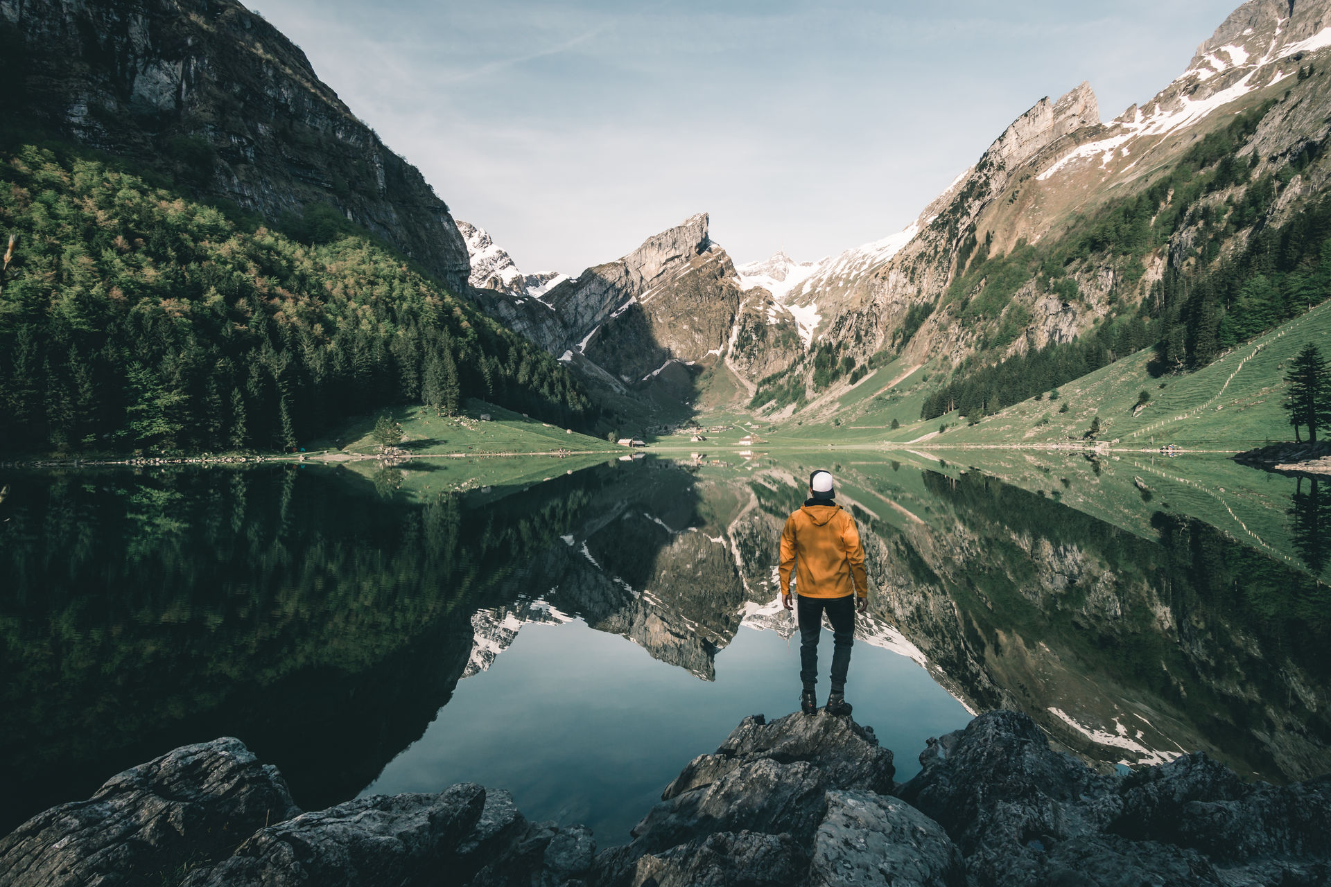 Man in yellow jacket standing at the mountain lake on a calm morning adventure alps appenzell day explore Hiking lake leisure activity lifestyles mountain mountain range mountains Nature Nature one person outdoors scenics Seealpsee Standing swiss swiss alps switzerland tranquil scene Tranquility Yellow jacket The Great Outdoors - 2017 EyeEm Awards The Great Outdoors - 2017 EyeEm Awards Connected by Travel