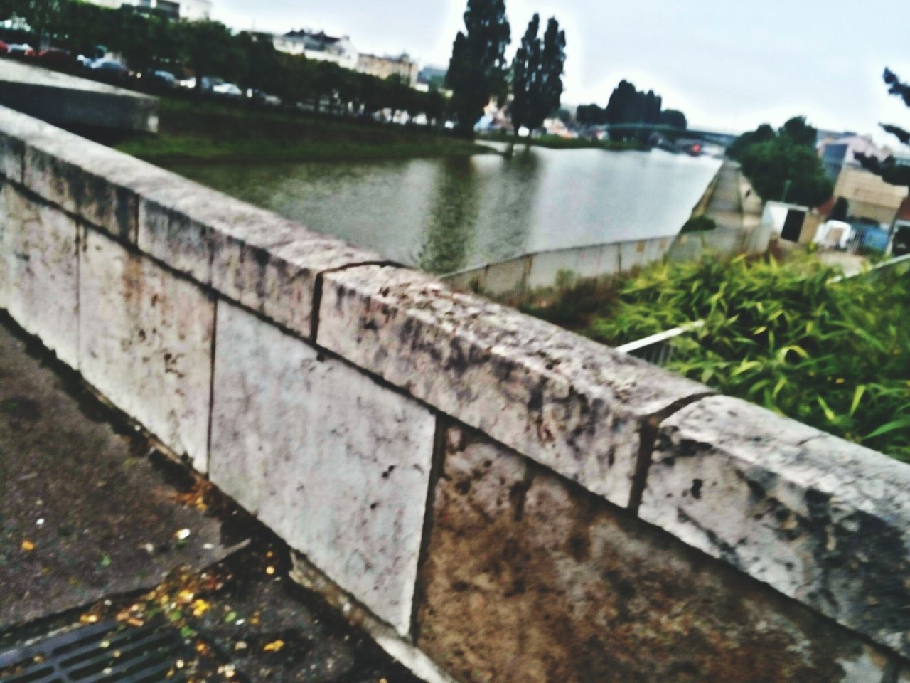 water, outdoors, day, focus on foreground, built structure, no people, architecture, nature, close-up, retaining wall, building exterior, sky