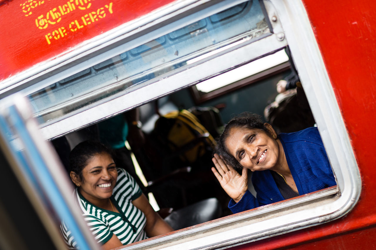 Female passengers in a train in Kandy, Sri Lanka Beautiful Ella Famous Funny Nature Nuwaraeliya Passenger Passenger Train Rail Railway Smile Smiling Face Sri Lanka Sri Lankan Tourism Train Train Ride Wagon  Window Window Frame Women