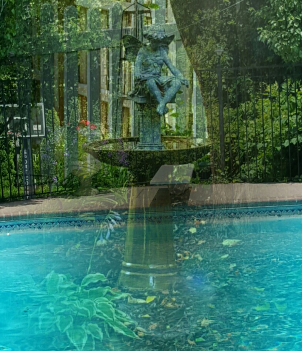 Angel Birdbath Overlay Double Exposure Pool Spiritual Water WallpaperForMobile Webdesign Blue Angels Summer Views