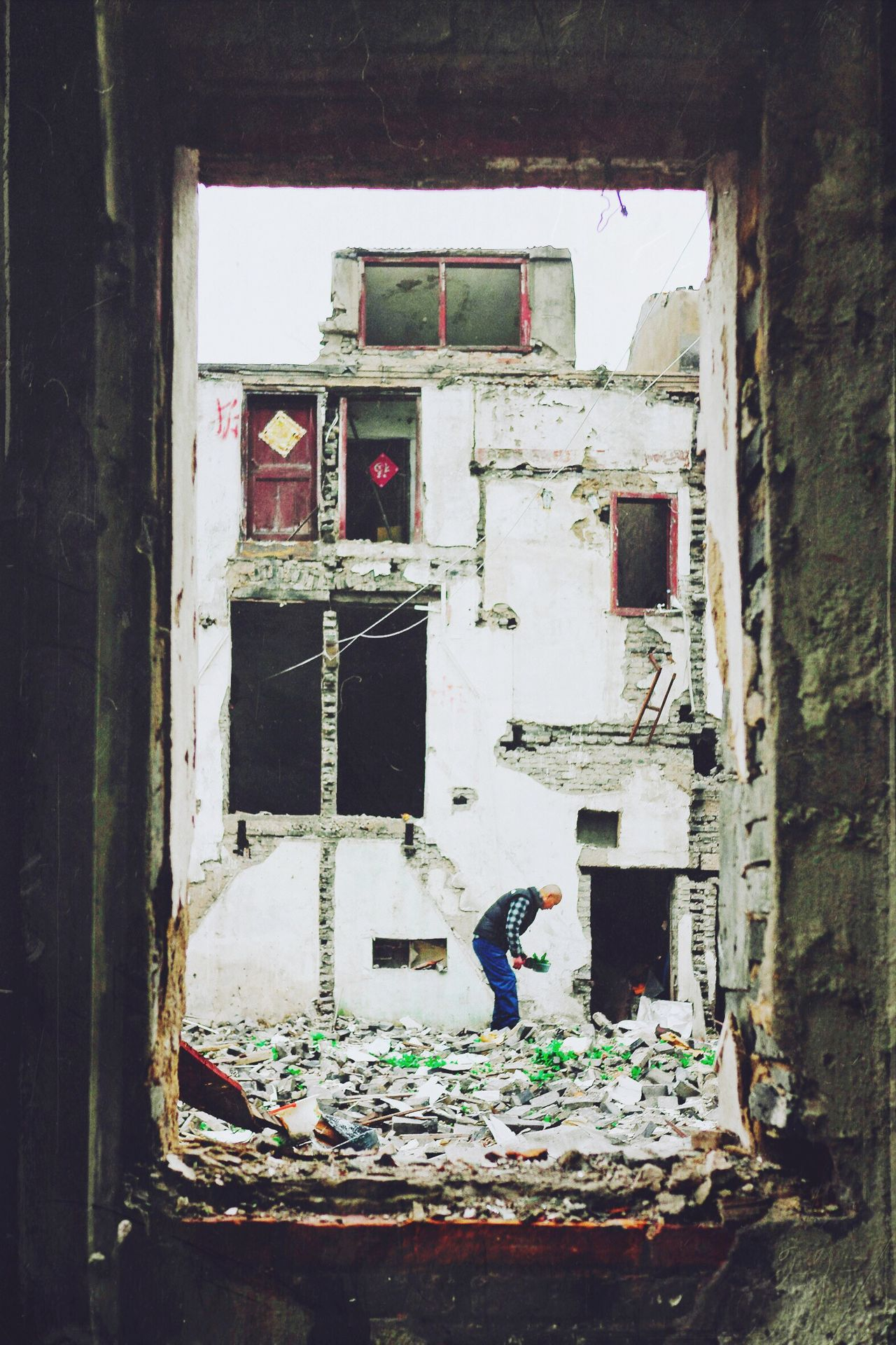 EyeEmNewHere His home The Ruins Frame Composition Old Man Les Misérables Deserted Building Abandoned House Shanghai China