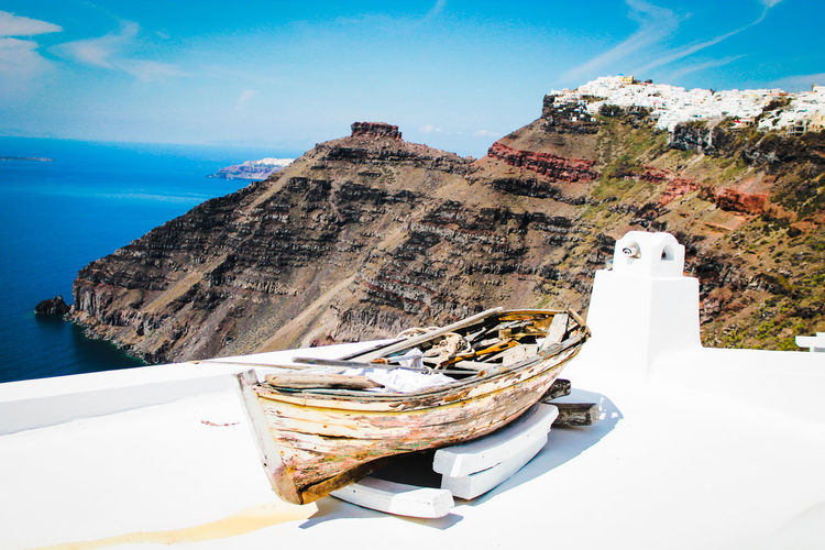 Beauty In Nature Boat Canon Greece Landscape Mountain Nature Nautical Vessel Oia Outdoors Roof Rooftop Santorini Scenics Sea Sky Water