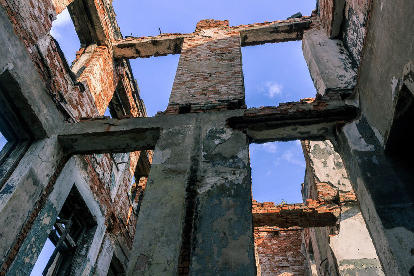 Old sanatorium Abandoned Architecture Bad Condition Brick Broken Building Exterior Built Structure Damaged Destruction House Karelia Low Angle View Obsolete Old Old Ruin Russia Sky The Past Wall - Building Feature Window здание карелия Россия старый стена