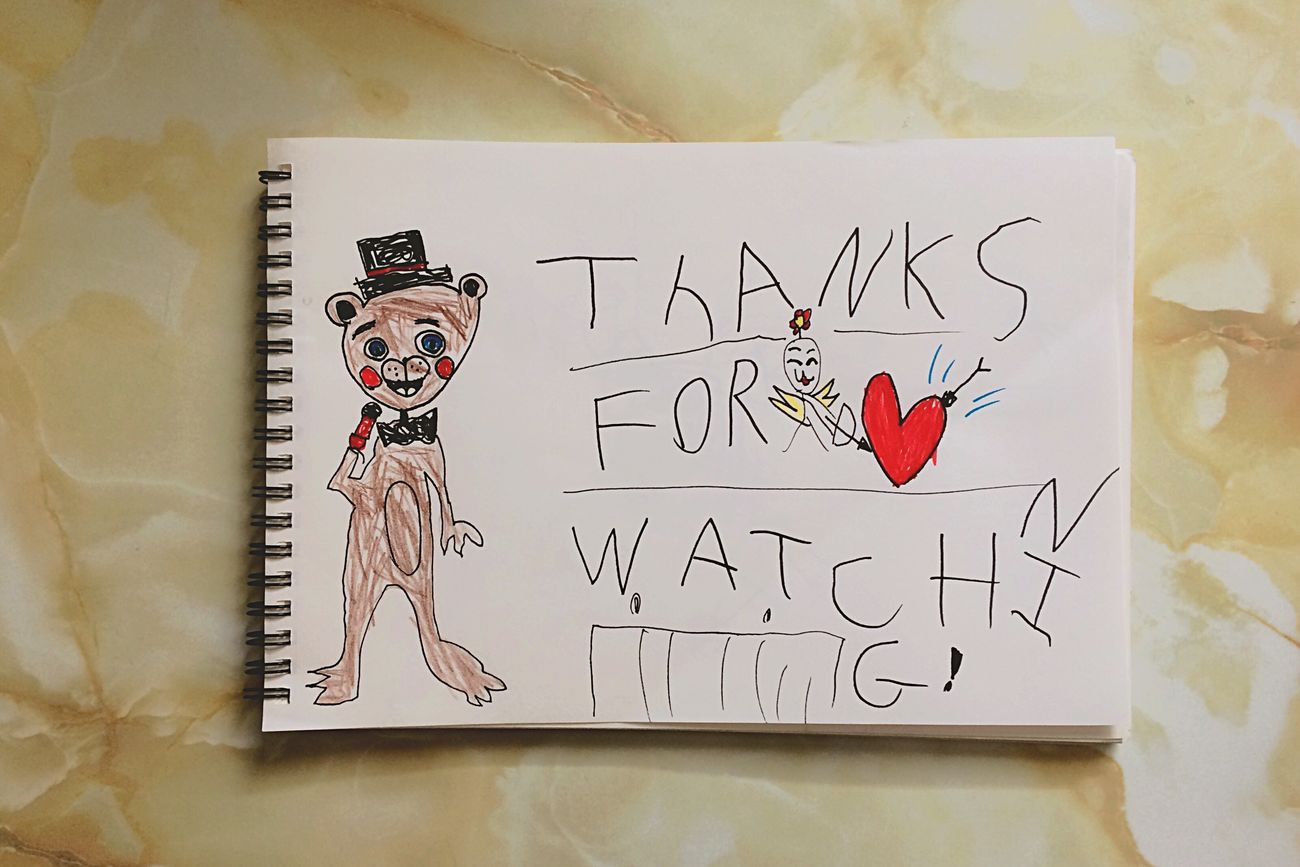 Paper Handwriting  Indoors  Greeting Card  Day Draw Text Communication Love No People Close-up Fnaf Illustration Freddy Art イラスト Sketch Ink Drawing-art Product お絵描き