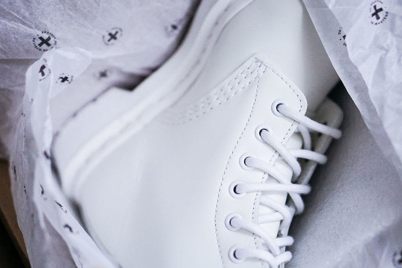 White boot White White Color White Shoes White Boots White Footwear Dr Martens Boots Package Shopping New Clean Close-up
