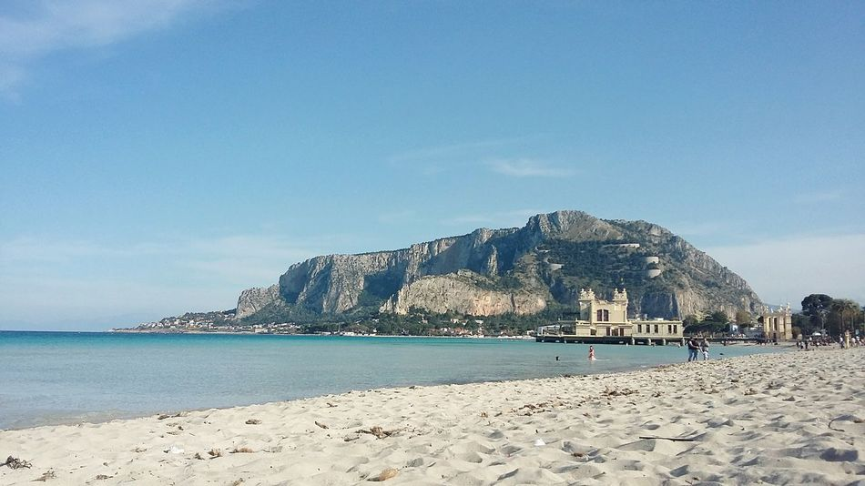 Palermo, Italy Beach Sand Sea Blue Water Day Sky Mondello Nature Sicily Italy Beauty In Nature