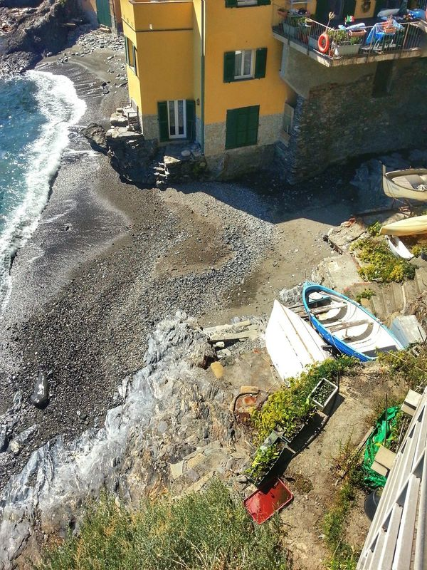 Spiaggetta Little Beach High Angle View Water Sea Building Exterior House Built Structure Day Outdoors Architecture Sand No People Boats Looking Down Genova Note 2 Smartphone Photography Android Photography