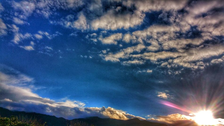Sky Cloud - Sky Beauty In Nature Scenics Nature Tranquility No People Dramatic Sky Outdoors Sunburst Mountain Range Stormy Weather My View Moodysky Love The Colors Mountain And Clouds A Bit Of Blue Puffy Clouds Peeking Through