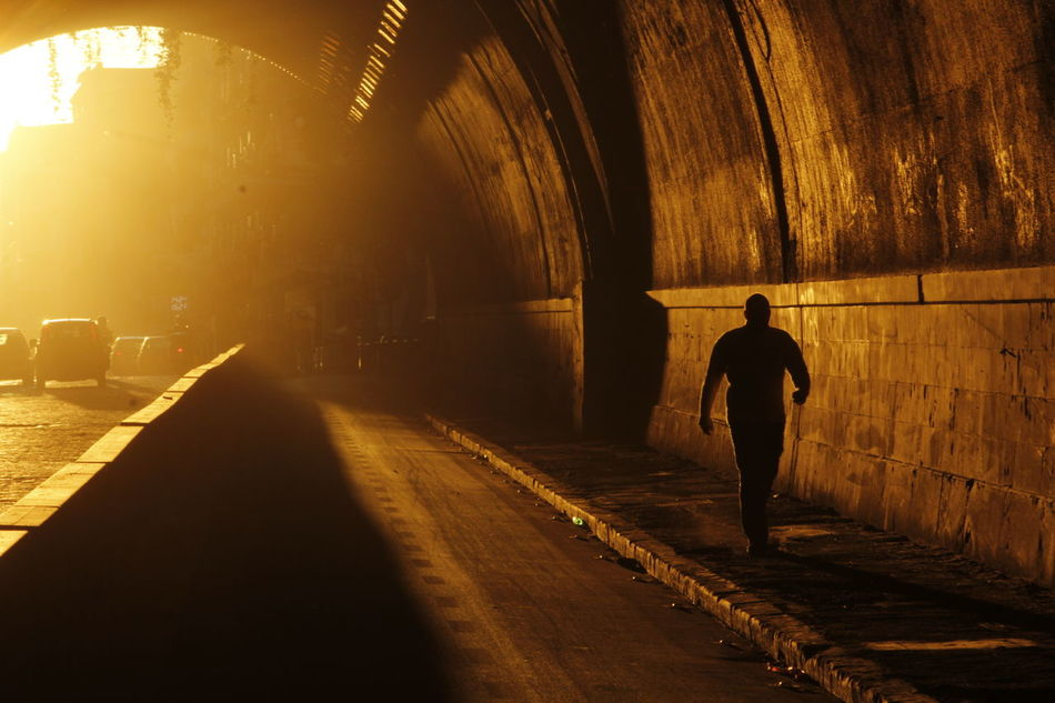 Rear View Full Length Silhouette One Person Walking Tunnel Standing Men The Way Forward Indoors  One Man Only Illuminated Adult Only Men People Real People Night Adults Only Italia Naples Italy Napoli Napoli_foto Smog Inquinamento EyeEmNewHere